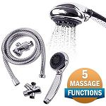 Viverity Hand Held Shower with Diverter Valve & 5 Massage Functions