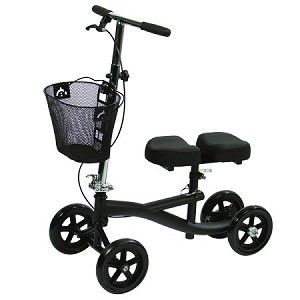 Premium Knee Scooter with Free Carry Basket, Four Wheels, Adjustable Brakes, and Padded Seat