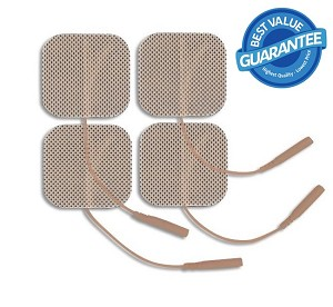 2'' x 2'' Premium Tan Cloth Electrodes - 4/pack